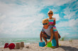 Leinwandbild Motiv happy girl and boy play and enjoy beach vacation
