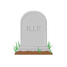 New Gravestone With Germinated Grass In Flat