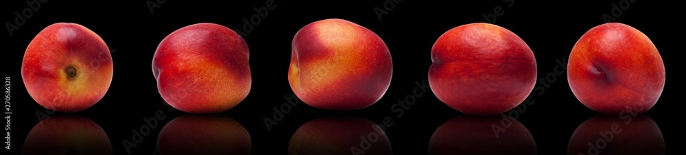 Fototapety, obrazy: set of juicy, ripe plums isolated lie on a black background