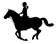 Young Woman Riding A Horse Sil...