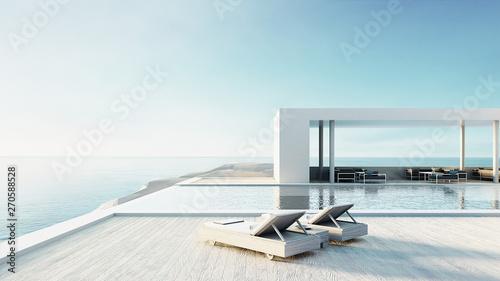 Fotografía  beach lounge outdoor pool & luxury interior/ 3D rendering