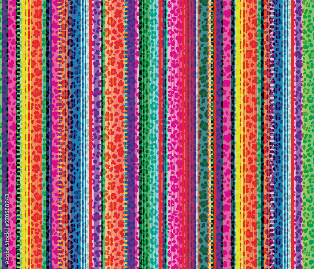 Fototapety, obrazy: Colorful seamless mexican style and leopard pattern, serape stripes background