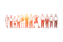 Young Men Standing Together, Adults And Teenagers, Faceless People In Casual Clothes, Friends Communication
