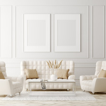Mock Up Poster In Luxury Classic Style Living Room Interior, 3d Render