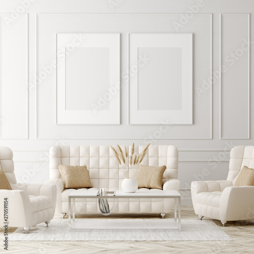 Mock up poster in luxury classic style living room interior, 3d render Wall mural