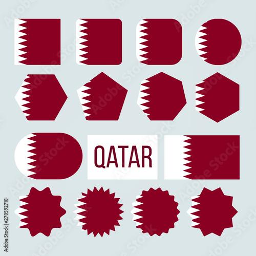 Obraz na plátně  Qatar Flag Collection Figure Icons Set Vector
