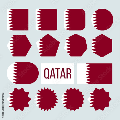 Valokuva  Qatar Flag Collection Figure Icons Set Vector