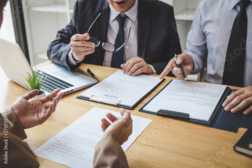 Fototapeta Business woman explaining about his profile to two selection committee manager sitting in during job Interview, interview the job and hiring obraz