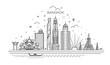 Thailand and attractions to Bangkok landmarks. Vector illustration - Vector