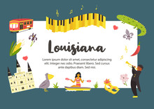 Louisiana Poster With Symbols ...