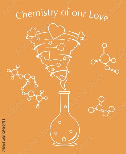 Poster Doodle Flask, hearts tornado, love message. Feeling, mood