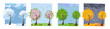Four seasons landscape. Summer, fall, spring and winter trees. Different times of year. Set of four non-parallel pictures with view of nature. Flat cartoon illustration. Trees with round crown