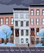 Flat cartoon illustration of winter evening in NY city, it is snowing, crowns of trees in the snow. flakes of snow fly from dark clouds. Dusk city landscape with snowy trees in the foreground