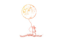 Little Girl In Dress Holding Huge Moon Balloon, Faceless Preschool Child With Big Present, Surreal Dream