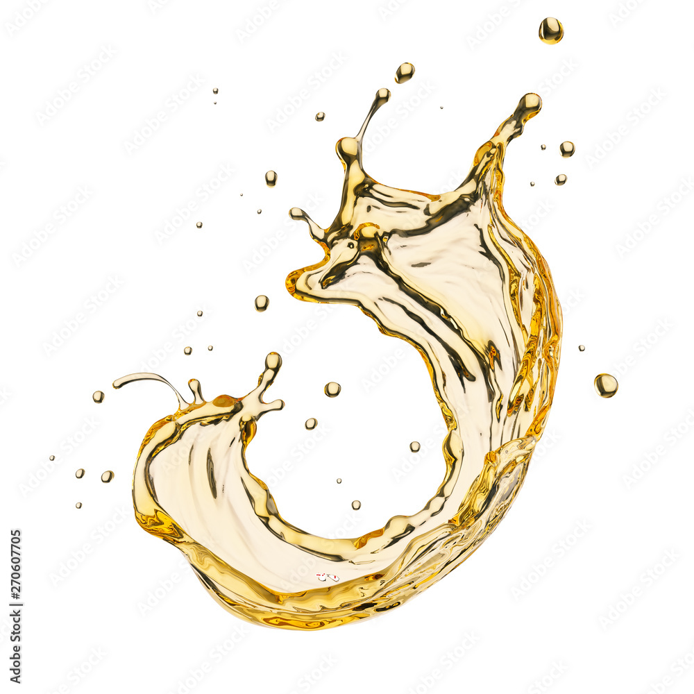 Fototapety, obrazy: Olive or engine oil splash, cosmetic serum liquid isolated on white background, 3d illustration with Clipping path.