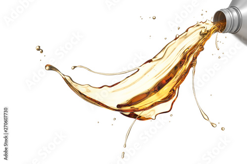 Fototapeta Engine oil pouring from plastic container isolated on white background, 3d illustration with Clipping path. obraz