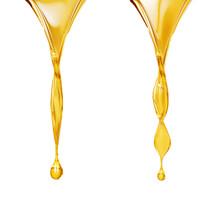 Olive Or Fuel Golden Oil Drop, Cosmetic Liquid 3d Rendering.