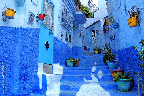 Chefchaouen Blue town Morocco Africa City streets view