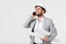 Confident Bearded Man Builder Wearing Suit