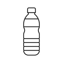 Plastic Bottle Vector Illustration, Line Style Icon