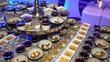 Nice dessert buffet in a restaurant with Panna Cotta
