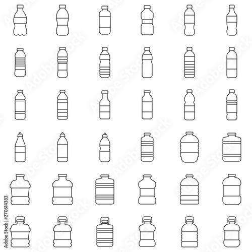 Fototapeta Plastic bottle icon set vector illustration, line style