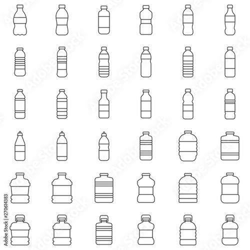 Valokuva Plastic bottle icon set vector illustration, line style