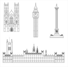 London Attractions,a Set Of Icons.Vector Image