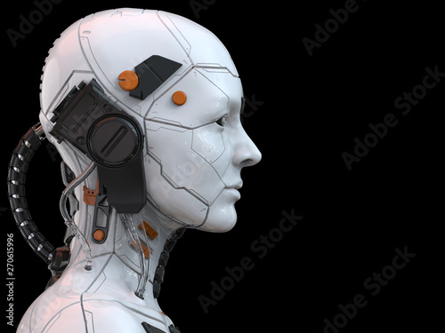 Photo 3d rendering of an android robot cyborg woman humanoid - side view and  isolated
