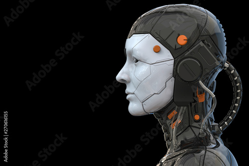 3d rendering of an android robot cyborg woman humanoid - side view and  isolated in an empty background