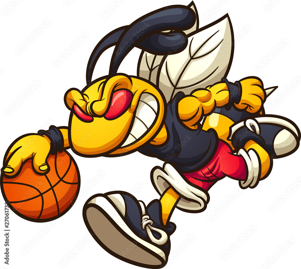 Fototapeta Hornet mascot running and playing basketball clip art. Vector illustration with simple gradients. Some elements on separate layers.