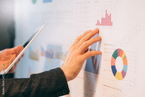 Business analyst studying company growth rates Canvas Print