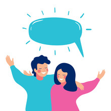 Smiling Teenage Boy And Girl Or School Friends Stand Together With Something To Say. Speech Bubble Above Happy Children Embracing Each Other. Flat Cartoon Vector Illustration Isolated On