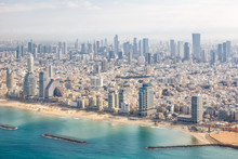 Tel Aviv Skyline Israel Beach Aerial View Photo City Sea Skyscrapers