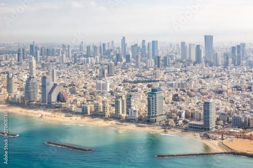 Tel Aviv skyline Israel beach aerial view photo city sea skyscrapers Fototapeta