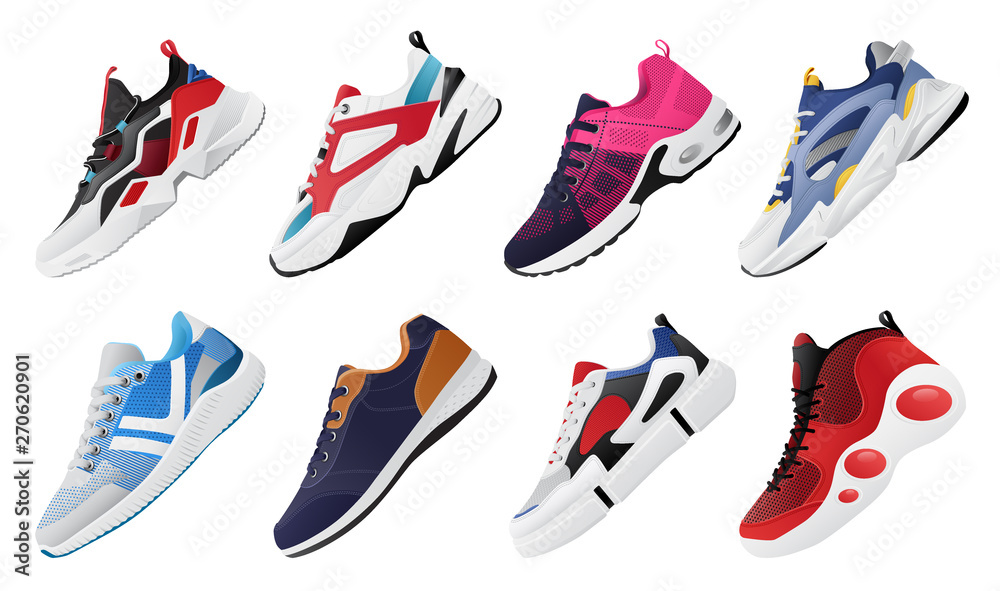 Fototapety, obrazy: New Fitness sneakers set, fashion shoes for training running shoe. Sport shoes set