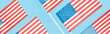 panoramic shot of national usa flags on blue background
