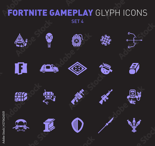 Fotografie, Obraz  Popular epic game glyph icons