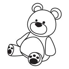 Teddy Bear Toy Icon Cartoon Black And White