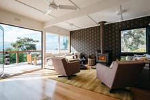 Beach House Living Room With B...