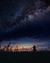 Scene With Woman Under Milky Way