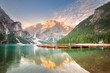 canvas print picture - Lago di Braies in National Park Dolomites, Italy