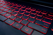 Gaming Red Keyboard With Red Button