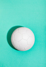 Soccer Ball On Sea Green Background