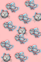 Cats And Birds -carved Modern BACKGROUND 3d Style