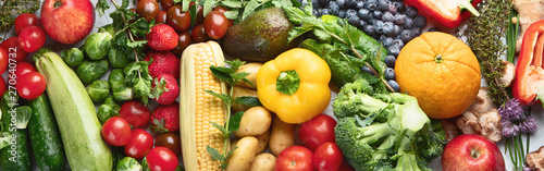 Assortment of fresh fruits and vegetables. Panorama, banner