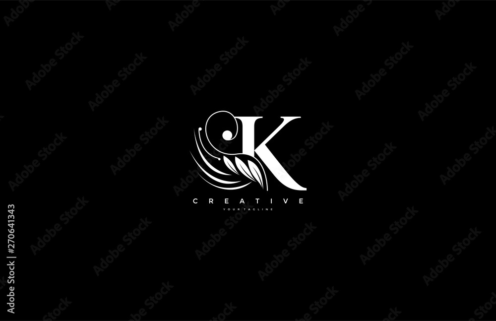 Fototapety, obrazy: Initial K letter luxury beauty flourishes ornament monogram logo