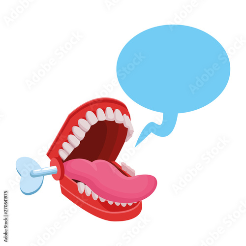 false chattering jaws with speech bubble Fototapeta