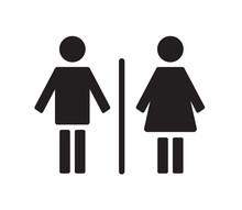 Public Toilet Sign On White Background. Vector Illustration.