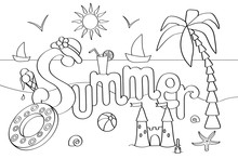 Vector Coloring On The Theme Of Summer Vacation At The Sea